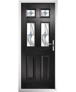 The Oxford Composite Door in Black with Blue Fusion Ellipse