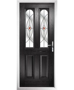 The Aberdeen Composite Door in Black with Red Fusion Ellipse