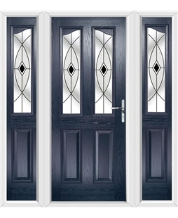 The Birmingham Composite Door in Blue with Black Fusion Ellipse and matching Side Panels