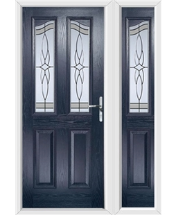 The Birmingham Composite Door in Blue with Crystal Harmony Frost and matching Side Panel