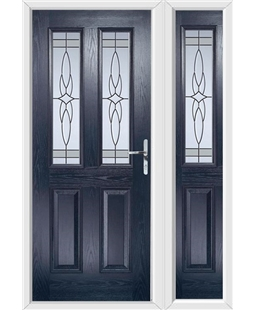 The Cardiff Composite Door in Blue with Crystal Harmony Frost and matching Side Panel