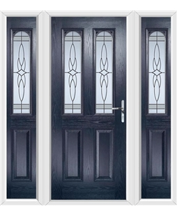 The Aberdeen Composite Door in Blue with Crystal Harmony Frost and ...