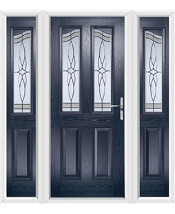 The Birmingham Composite Door in Blue with Crystal Harmony Frost and matching Side Panels