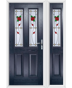 The Cardiff Composite Door in Blue with English Rose and matching Side Panel