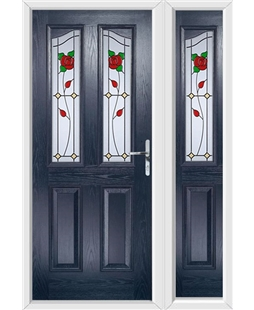 The Birmingham Composite Door in Blue with English Rose and matching Side Panel