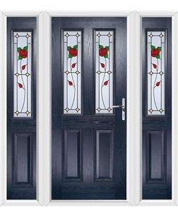 The Cardiff Composite Door in Blue with English Rose and matching Side Panels