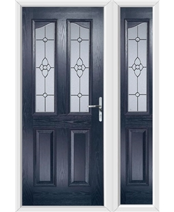 The Birmingham Composite Door in Blue with Finesse Glazing and matching Side Panel