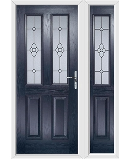 The Cardiff Composite Door in Blue with Finesse Glazing and matching Side Panel
