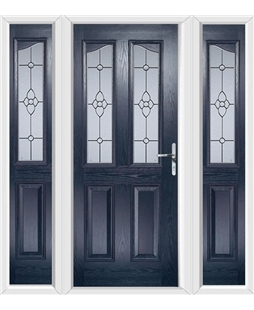 The Birmingham Composite Door in Blue with Finesse Glazing and matching Side Panels