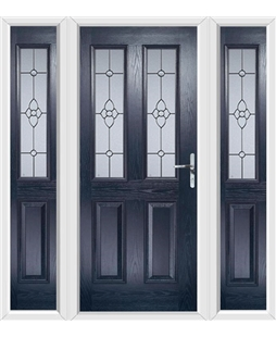 The Cardiff Composite Door in Blue with Finesse Glazing and matching Side Panels