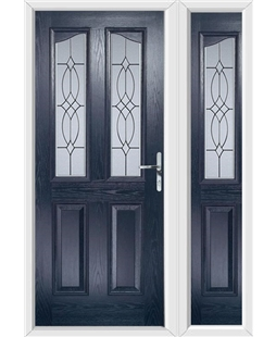 The Birmingham Composite Door in Blue with Flair Glazing and matching Side Panel