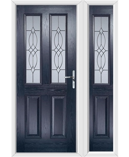 The Cardiff Composite Door in Blue with Flair Glazing and matching Side Panel