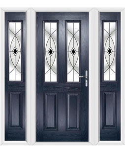 The Cardiff Composite Door in Blue with Black Fusion Ellipse and matching Side Panels