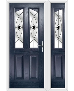 The Birmingham Composite Door in Blue with Black Fusion Ellipse and matching Side Panel