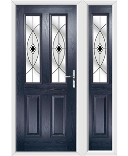 The Cardiff Composite Door in Blue with Black Fusion Ellipse and matching Side Panel