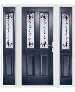 The Birmingham Composite Door in Blue with Mackintosh Rose and matching Side Panels