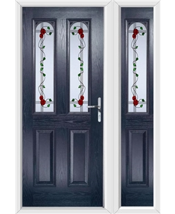 The Aberdeen Composite Door in Blue with Mackintosh Rose and matching Side Panel