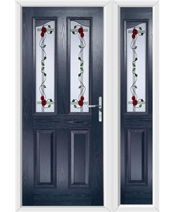 The Birmingham Composite Door in Blue with Mackintosh Rose and matching Side Panel