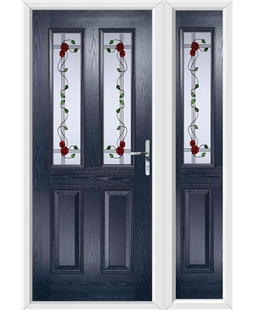 The Cardiff Composite Door in Blue with Mackintosh Rose and matching Side Panel