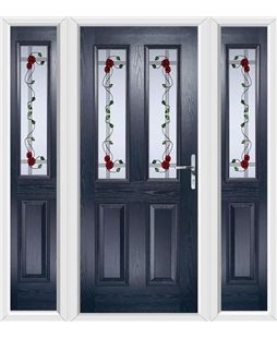 The Cardiff Composite Door in Blue with Mackintosh Rose and matching Side Panels