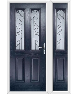 The Aberdeen Composite Door in Blue with Zinc Art Abstract and matching Side Panel