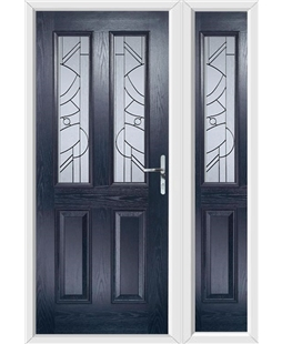 The Cardiff Composite Door in Blue with Zinc Art Abstract and matching Side Panel
