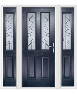 The Cardiff Composite Door in Blue with Zinc Art Abstract and matching Side Panels