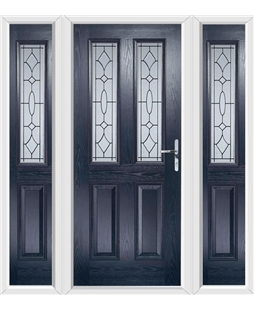 The Cardiff Composite Door in Blue with Zinc Art Clarity and matching Side Panels