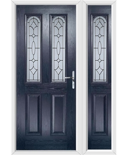 The Aberdeen Composite Door in Blue with Zinc Art Clarity and matching Side Panel