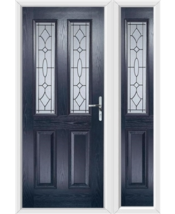 The Cardiff Composite Door in Blue with Zinc Art Clarity and matching Side Panel