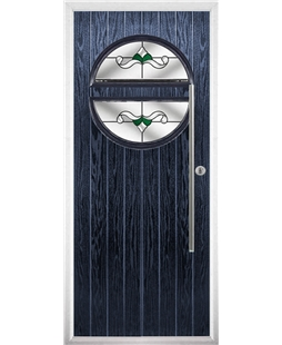 The Xenia Composite Door in Blue with Green Crystal Bohemia