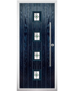 The Leicester Composite Door in Blue with Green Fusion Ellipse