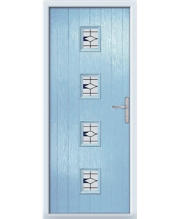 The Uttoxeter Composite Door in Blue (Duck Egg) with Barcelona Blue