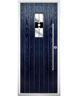 The Zetland Composite Door in Blue with Black Crystal Bohemia