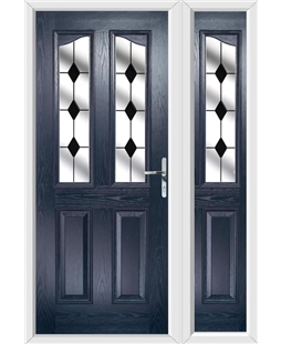 The Birmingham Composite Door in Blue with Black Diamonds and matching Side Panel