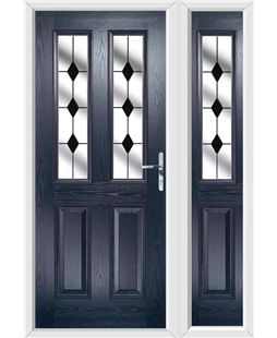 The Cardiff Composite Door in Blue with Black Diamonds and matching Side Panel