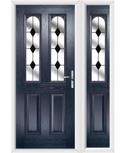 The Aberdeen Composite Door in Blue with Black Diamonds and matching Side Panel