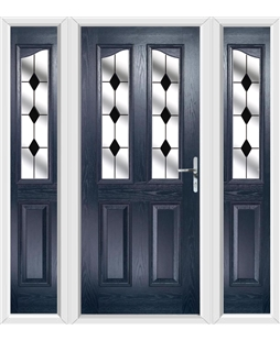 The Birmingham Composite Door in Blue with Black Diamonds and matching Side Panels