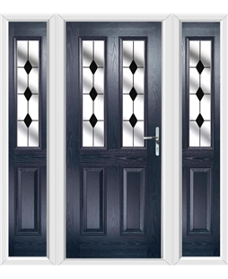 The Cardiff Composite Door in Blue with Black Diamonds and matching Side Panels