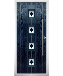 The Leicester Composite Door in Blue with Black Diamonds
