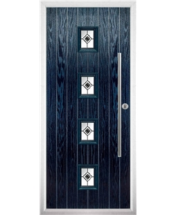The Leicester Composite Door in Blue with Black Fusion Ellipse