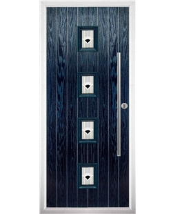 The Leicester Composite Door in Blue with Black Murano