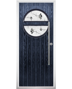 The Xenia Composite Door in Blue with Black Murano