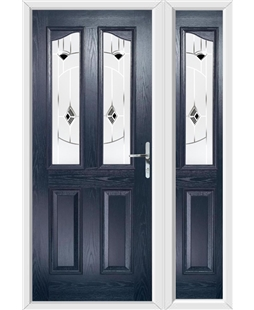 The Birmingham Composite Door in Blue with Black Murano and matching Side Panel