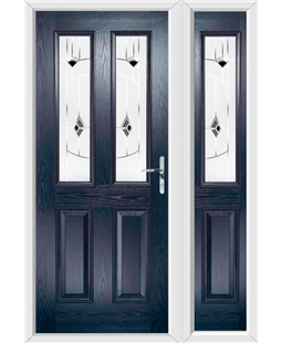 The Cardiff Composite Door in Blue with Black Murano and matching Side Panel