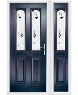 The Aberdeen Composite Door in Blue with Black Murano and matching Side Panel
