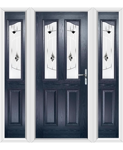 The Birmingham Composite Door in Blue with Black Murano and matching Side Panels