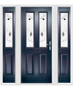 The Cardiff Composite Door in Blue with Black Murano and matching Side Panels