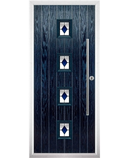 The Leicester Composite Door in Blue with Blue Diamonds