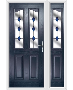 The Birmingham Composite Door in Blue with Blue Diamonds and matching Side Panel